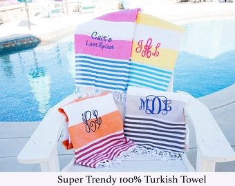 Custom Monogram Beach Towel, Embroidered Turkish Towel, Bachelorette Party, Colorful Beach Towel