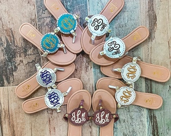 Monogram Medallion Sandals, Sorority Gift, Matching Bachelorette Party Outfit, Gift for Bride, Summer Beach Wedding