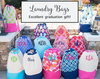 Monogrammed Laundry Bag - Graduation Gift - Laundry Hamper - Monogram Laundry Basket - Monogram Clothes Hamper