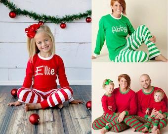 Free Shipping! Christmas Pajamas - Embroidered Monogram Christmas Pj's -  Christmas Pajamas for the family