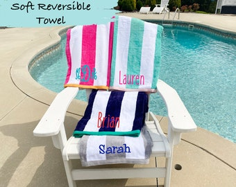 Personalized Striped Beach Towel, Bridesmaid Gift, Embroidered Towel, Monogrammed Beach Towel, Sorority / Team Gift