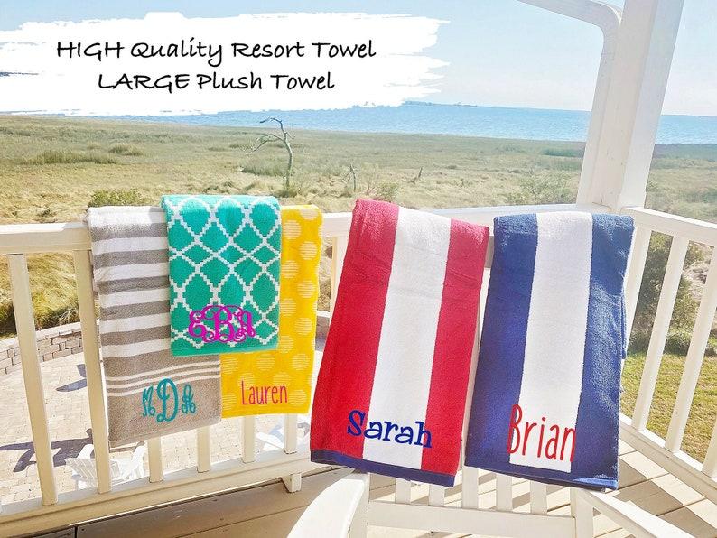 Custom Striped Beach Towel Monogrammed Gift Graduation Gift image 1
