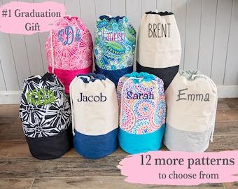 Monogrammed Laundry Bag, Graduation Gift, Large Laundry Basket, Custom Clothes Hamper, Back to School Gift, College