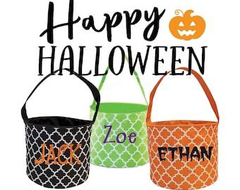 Halloween Bucket - Monogrammed Halloween Bucket - Personalized Kid's Halloween Bucket - Trick or Treat Pail - Halloween Basket