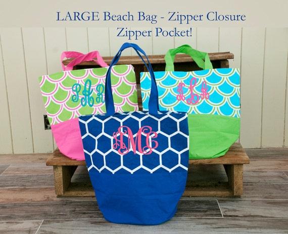 large monogrammed beach bag personalized bag bridesmaid etsy