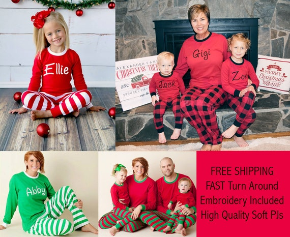 Matching Family Christmas Pajamas.Matching Family Christmas Pajamas Personalized Family Christmas Pjs Embroidered Family Christmas Pjs