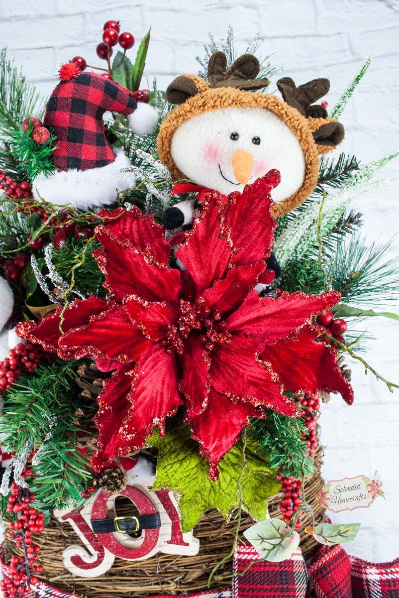 Snowman Wreath Christmas Wreath Buffalo Plaid Wreath Poinsettia Wreath Snowman Decoration Rustic Snowman Wreath Snowman Wall Decor