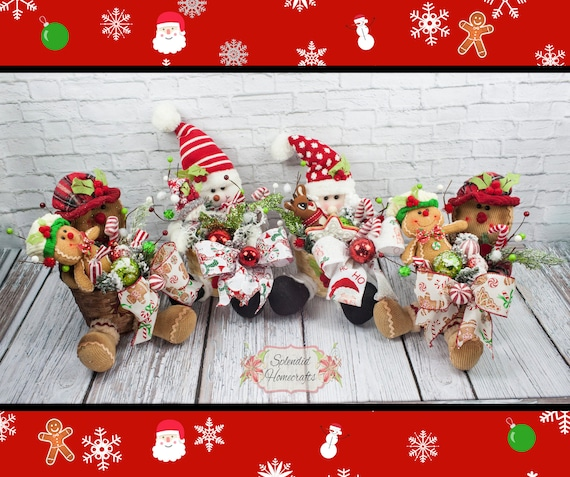 Christmas Centerpiece Rustic Gingerbread Centerpiece Snowman Etsy
