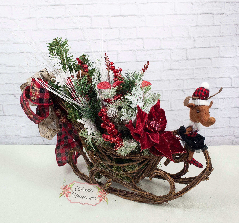 Reindeer Sleigh Centerpiece Christmas Sleigh Centerpiece