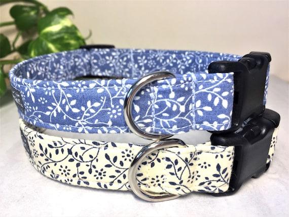 Girly Pink Blue /& Cream Floral Dog Collar