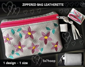 04467256c64 Zipper bag - purse - vinyl - Leatherette - Faux leather - No.234 - 5x7hoop  - video tutorial-Zippered -ith-Embroidery file.  Digital download