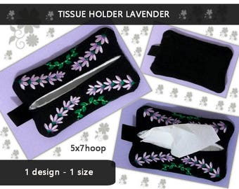 Pocket - tissue - holder - Lavender - No.272 - 5x7hoop -  tissue covers - Machine embroidery design./INSTANT DOWNLOAD