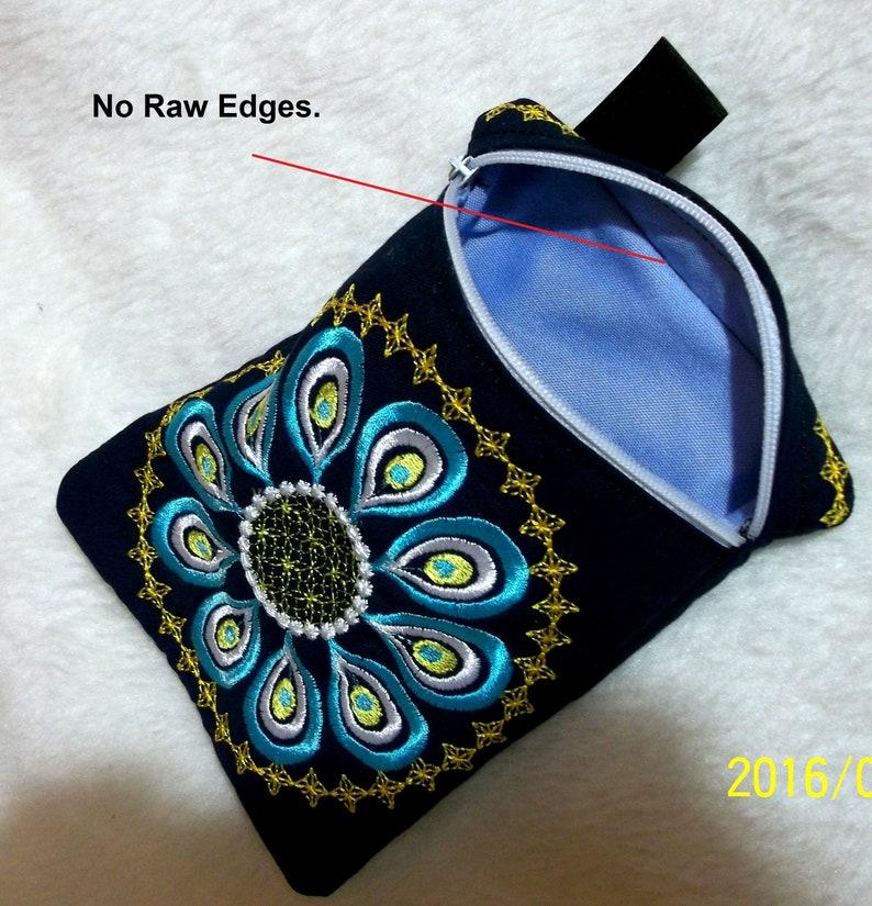 bag zipper Peacock ITH Machine embroidery digitization.INSTANT DOWNLOAD 5.51x7.87hoop zippered No.154-5x7hoop