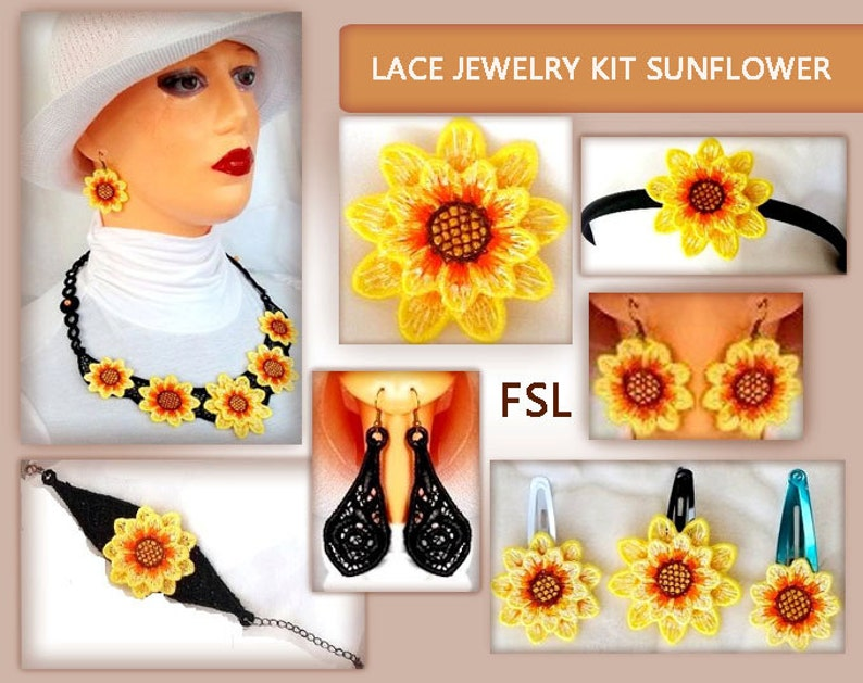lace No.34-51 jewelry Sunflower embroidery design 5x7hoopINSTANT DOWNLOAD set FSL kit 4x4hoop