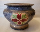 Spongeware Pottery Bowl with Floral Motif Blue with Red and Green