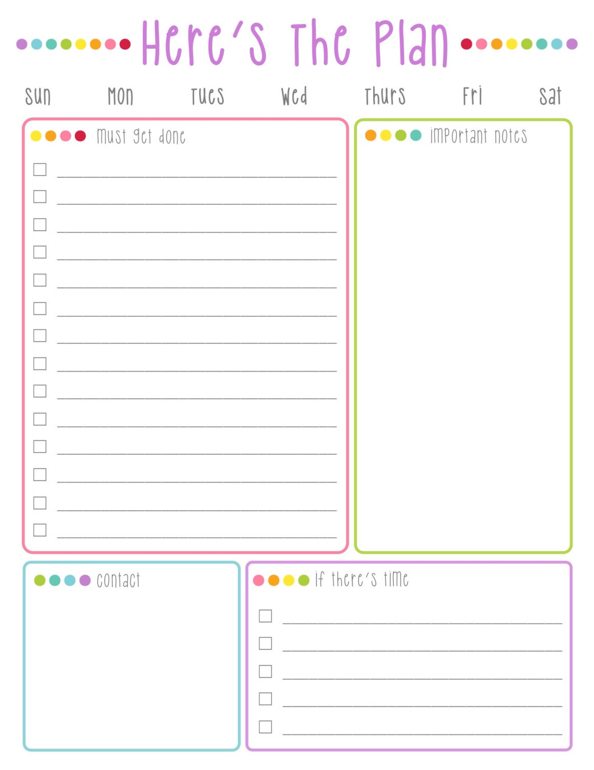 here's the plan daily to do list printable: colorful dots | etsy