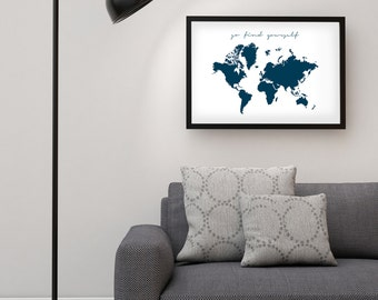 Go find yourself etsy world map poster go find yourself xxl kitchen wall art inspirational quote printable art nordic design gumiabroncs Gallery