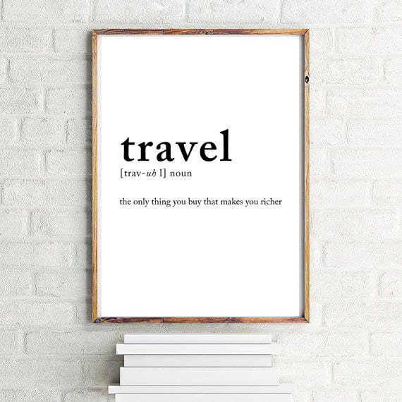 Travel definition poster Travel posters Wall decor Wall ...