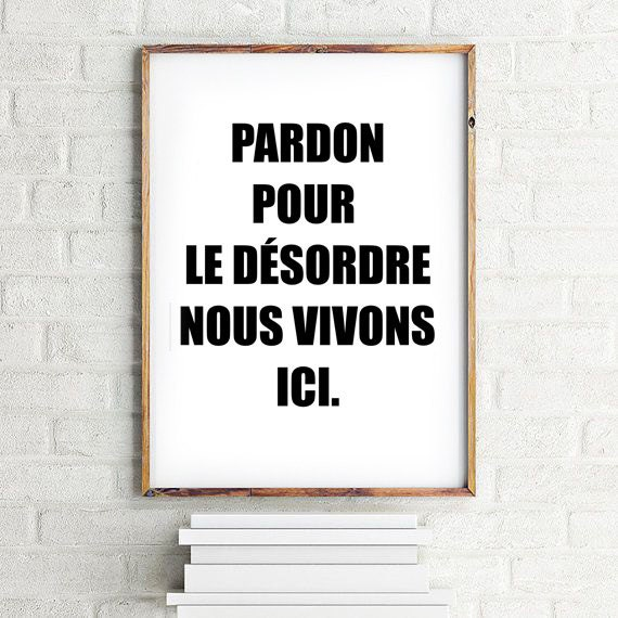 French poster, Scandinavian style, French quotes, Inspirational Quote,  French decor 70x100, 50x70, A4, 24x36\