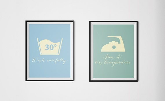 Laundry Room Decor Set Of Two Washing Machine Symbols Etsy