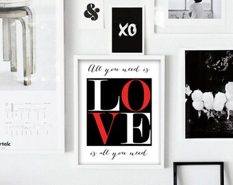 "All You Need is Love Digital Typography Poster, Love Print, Printable Art,  Scandinavian Print 24x36"", 8x10"" Poster"