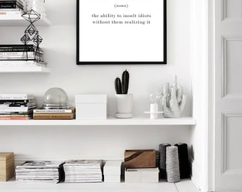 SARCASM Name Definition Funny Quote Print, Scandinavian Print, Typography Design Black And White Printable Art