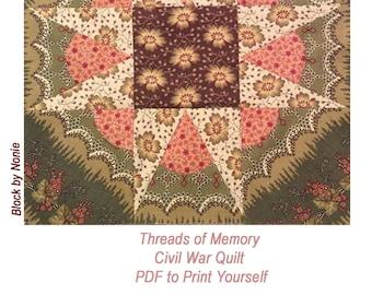 Threads of Memory. Civil War Quilt Pattern PDF BlockoftheMonth Sampler. 12 pieced star designs.