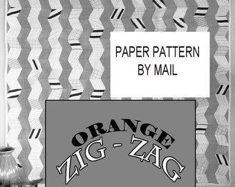 Quilt Pattern for Vintage Modern Scrappy Quilt: Orange Zig Zag. Rotary Cut or EPP a Mini. Paper Pattern by Mail from Barbara Brackman