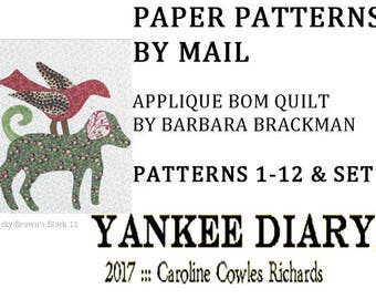 YANKEE DIARY BOM Civil War Quilts All Patterns 1-12. Paper patterns through the mail. Traditional applique with a modern set.