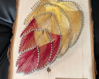 """Fall Leaf """"Welcome Home"""" Live Edge Scrabble Letter String Art"""