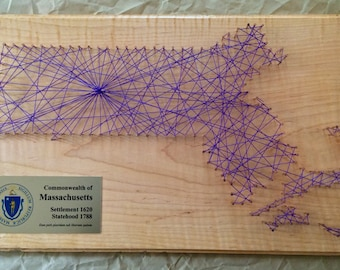 Large Massachusetts String Art with Plaque