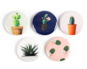 Cacti and Succulent Ceramic Magnets or Pinback Buttons: Supports The Ottawa Food Bank's Community Harvest Program