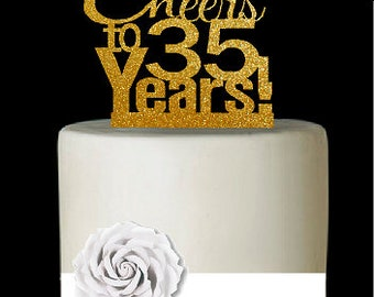 Item035CTA 35th Birthday Anniversary Cheers Soft Gold Glitter Sparkle Elegant Cake Decoration Topper