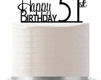 Happy 51st Birthday Agemilestone Elegant Cake Topper
