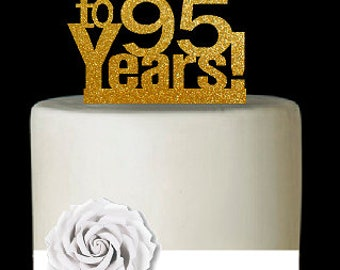 Item095CTA 95th Birthday Anniversary Cheers Soft Gold Glitter Sparkle Elegant Cake Decoration Topper