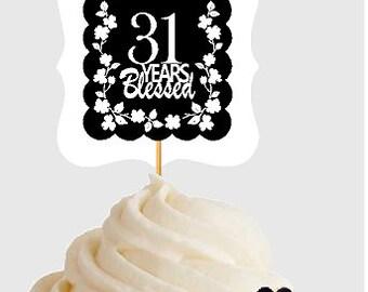 31st Birthday Anniversary Blessed Years Cupcake Decoraton Topper Picks 12pk