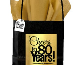 Black Gold 80th Birthday Anniversary Cheers Themed Small Party Favor Gift Bags With Tags 12pack
