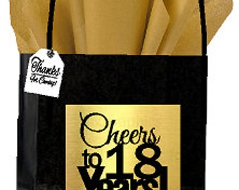 Black Gold 18th Birthday Anniversary Cheers Themed Small Party Favor Gift Bags With Tags 12pack
