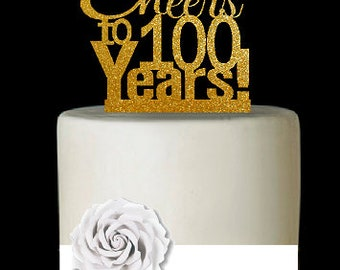 Item100CTA 100th Birthday Anniversary Cheers Soft Gold Glitter Sparkle Elegant Cake Decoration Topper