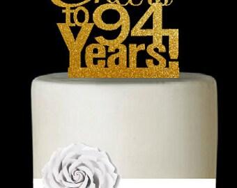 Item094CTA 94th Birthday Anniversary Cheers Soft Gold Glitter Sparkle Elegant Cake Decoration Topper