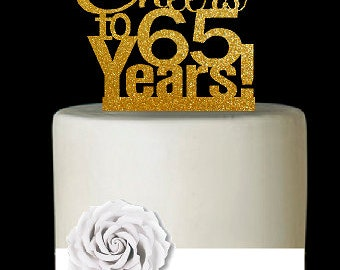 Item065CTA 65th Birthday Anniversary Cheers Soft Gold Glitter Sparkle Elegant Cake Decoration Topper