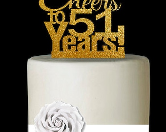 Item051CTA 51st Birthday Anniversary Cheers Soft Gold Glitter Sparkle Elegant Cake Decoration Topper