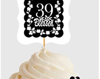 39th Birthday Anniversary Blessed Years Cupcake Decoraton Topper Picks 12pk