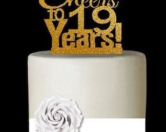 Item019CTA 19th Birthday Anniversary Cheers Soft Gold Glitter Sparkle Elegant Cake Decoration Topper