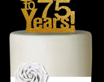 Item075CTA 75th Birthday Anniversary Cheers Soft Gold Glitter Sparkle Elegant Cake Decoration Topper