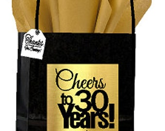 Black Gold 30th Birthday Anniversary Cheers Themed Small Party Favor Gift Bags With Tags 12pack