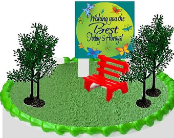 Day at the Park Bench and Trees Cake Decoration Topper