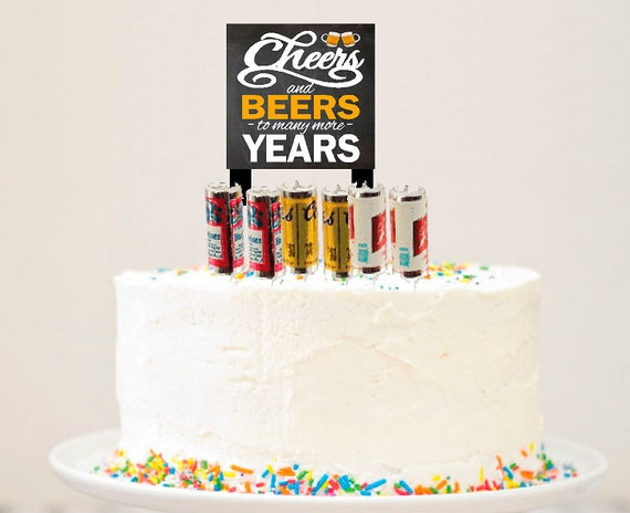 Alcohol Lovers Petite Cheers And Beers Cake Decoration 6pack Etsy