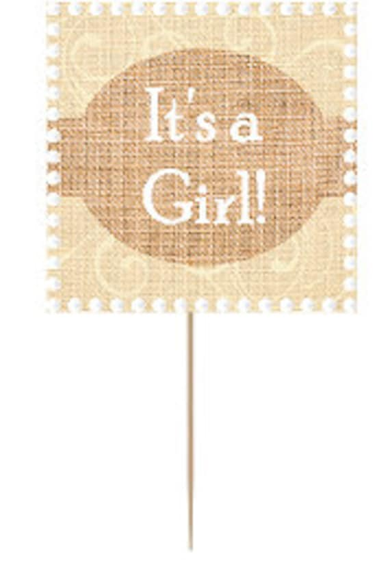 12pack Its a Girl Baby Shower Cupcake Decoration Toppers Picks - Square Burlap