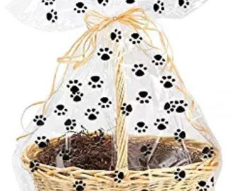 5pack Paw Print Gift Wrap Packaging Cellophane Bags